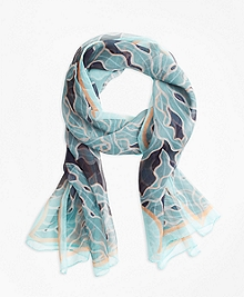 Palm-Tree-Print Silk Square Scarf
