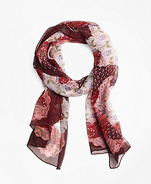 Indian Garden Silk Oblong Scarf