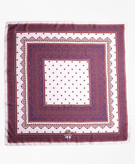 Ribbon-Print Silk Square Scarf