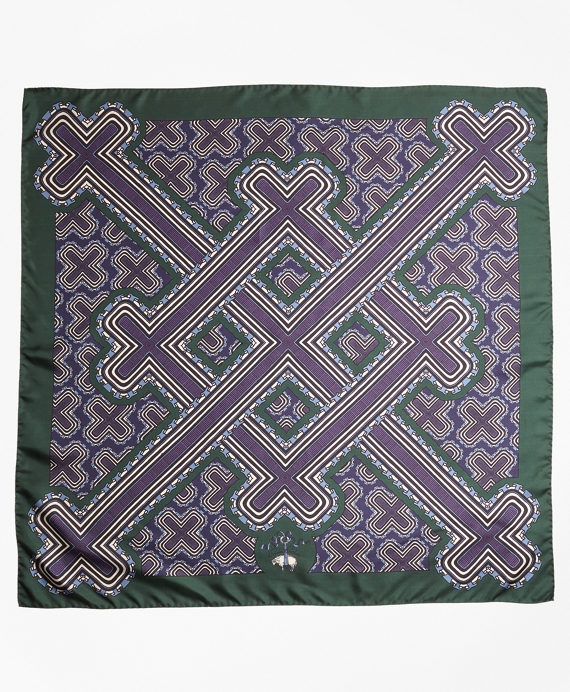 Geometric-Print Silk Square Scarf Green-Blue