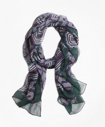 Geometric-Print Silk Chiffon Oblong Scarf