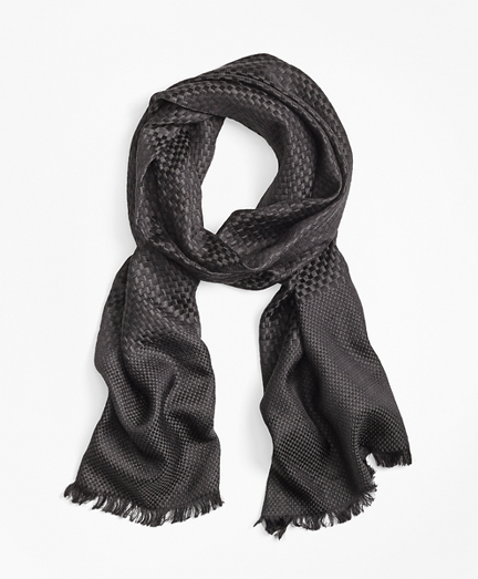 Checkerboard-Weave Silk-Wool Oversized Square Scarf