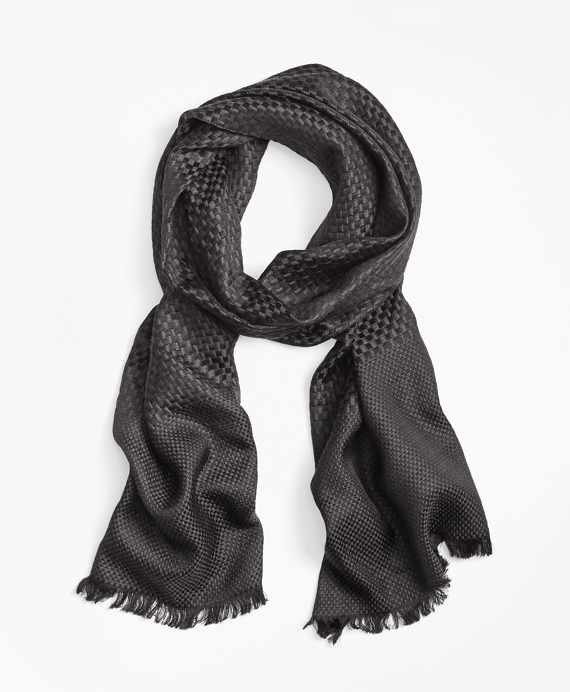 Checkerboard Weave Silk Wool Oversized Square Scarf by Brooks Brothers