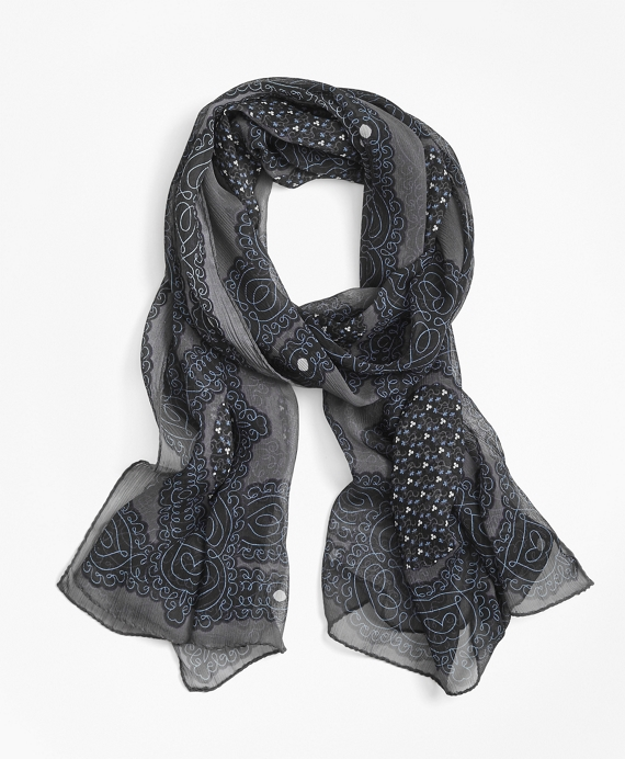 Scroll-Print Silk Chiffon Oblong Scarf