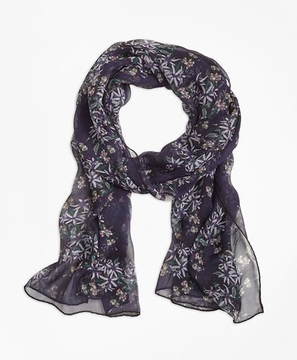 Wildflower-Print Silk Chiffon Oblong Scarf