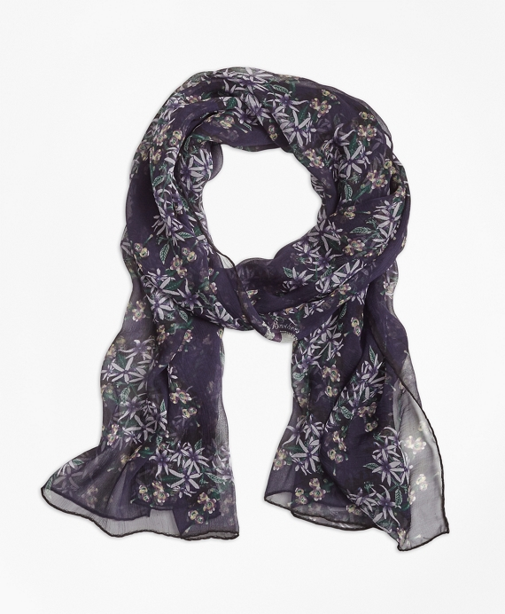 Wildflower-Print Silk Chiffon Oblong Scarf