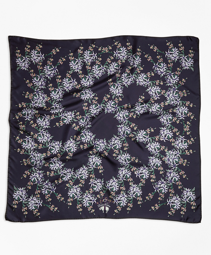 Wildflower-Print Silk Square Scarf