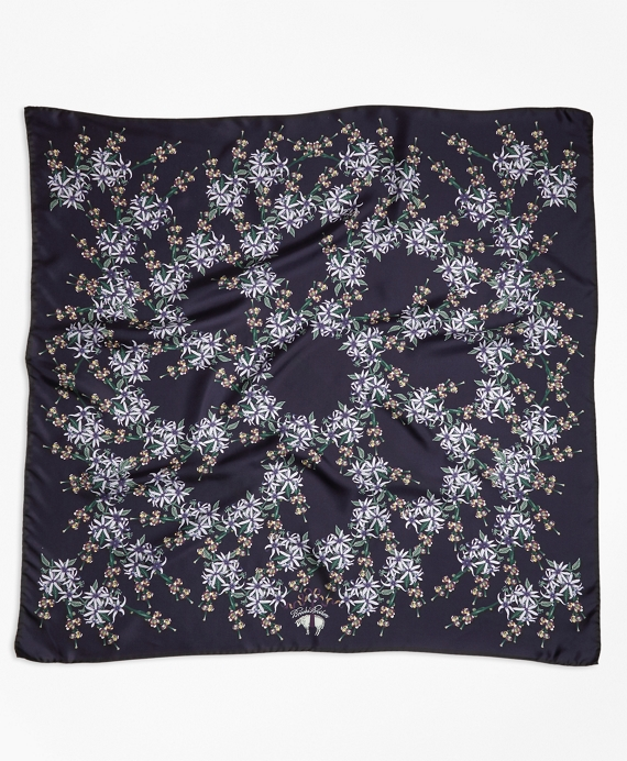 Wildflower-Print Silk Square Scarf Navy-Multi