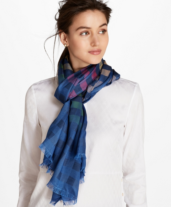Ombre Buffalo Check Silk-Blend Oblong Scarf Blue-Multi