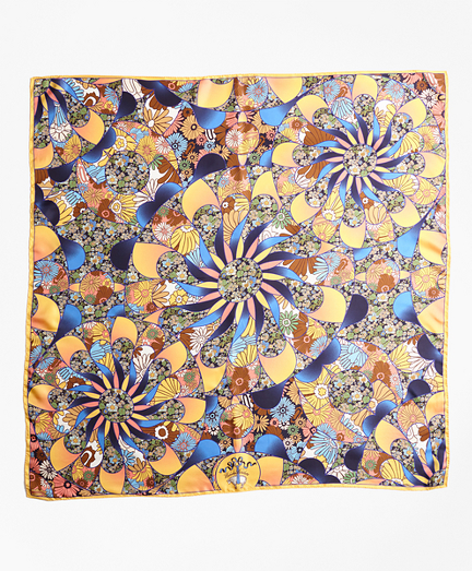 Kaleidoscope Floral-Print Silk Square Scarf