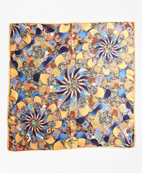 Kaleidoscope Floral-Print Silk Square Scarf Yellow-Blue-Multi