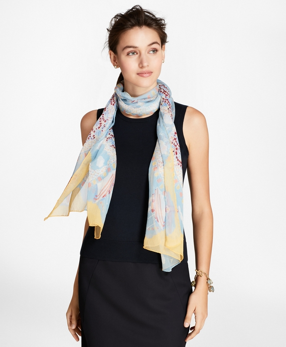 Hula-Dancer-Print Silk Chiffon Oblong Scarf