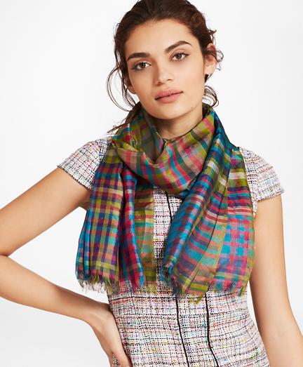 Madras Silk Oblong Scarf
