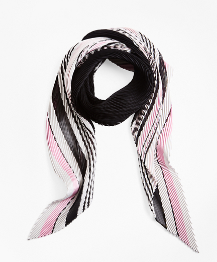 Pleated Sheer Stripe Silk Oblong Scarf