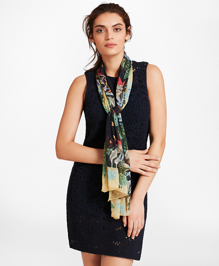 Tropical-Print Silk Chiffon Oblong Scarf