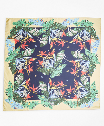 Tropical-Print Silk Square Scarf