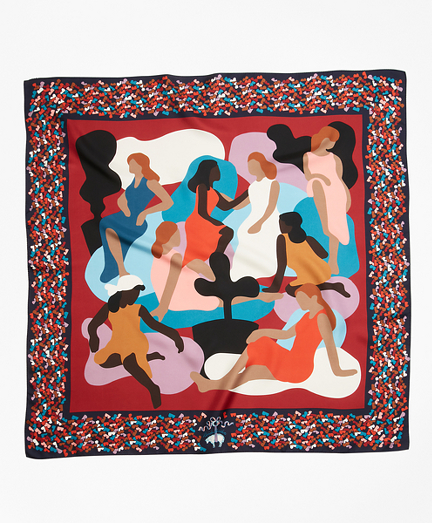 Stylized Figural-Print Silk Square Scarf