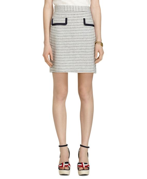 Stripe Linen Skirt Navy