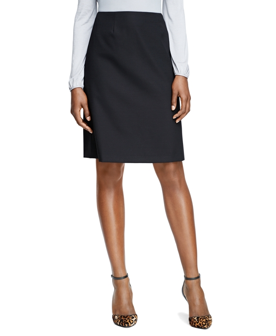 A-Line Wool Stretch Skirt Black