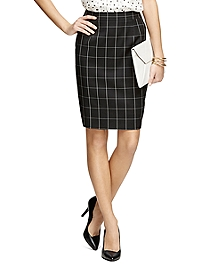 Wool Windowpane Pencil Skirt