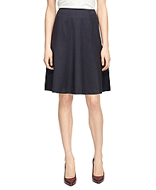 Wool Stretch Small Windowpane Circle Skirt