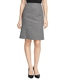 Wool Bird's-Eye Pencil Skirt
