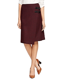 Lambswool A-Line Windowpane Skirt
