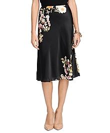 Silk Floral A-Line Skirt
