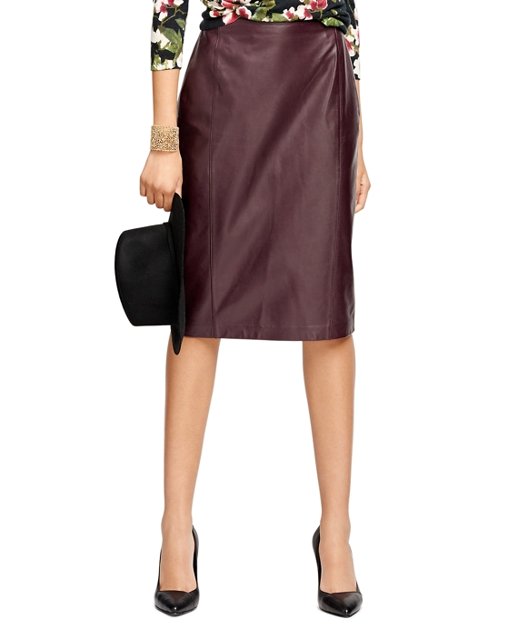 Women's Purple Leather Pencil Skirt | Brooks Brothers