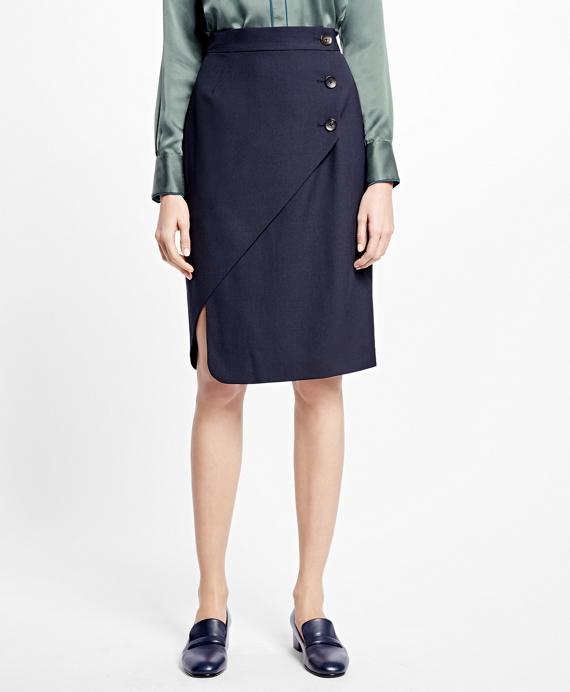 Asymmetrical Wrap Skirt Navy