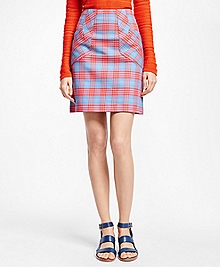 A-Line Cotton Plaid Skirt
