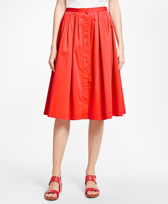 Flared Cotton Sateen Skirt Red