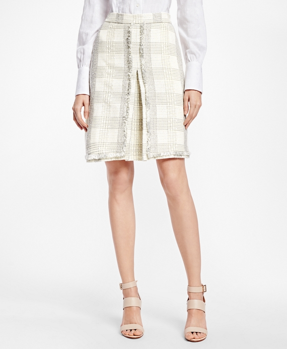 Textured Dobby Cotton-Blend Plaid Skirt
