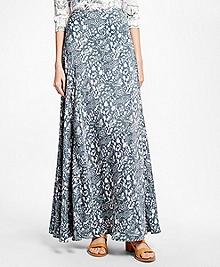 Silk Crepe Print Maxi Skirt