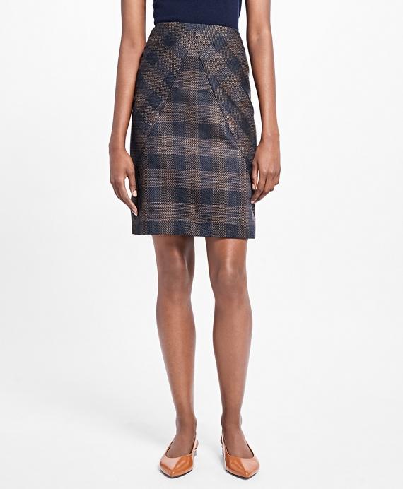 A-Line Plaid Skirt Navy
