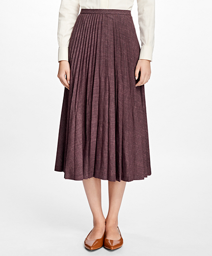 Wool Sunburst Pleated Skirt