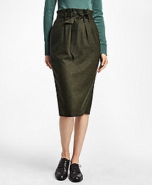 Cinched Wool Twill Skirt