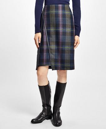 Asymmetric Tartan Wool Skirt