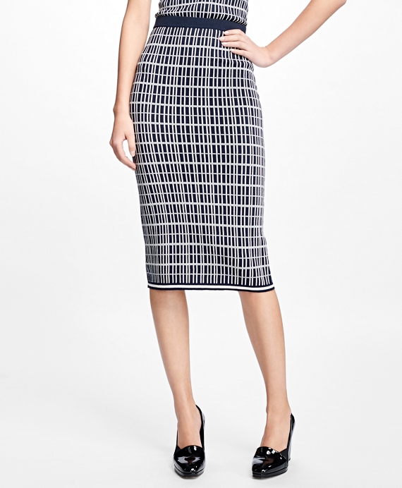 Double Jacquard Silk-Blend Pencil Skirt Navy-Ivory