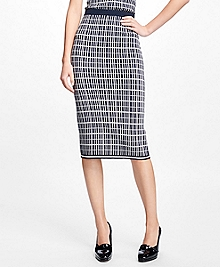 Double Jacquard Silk-Blend Pencil Skirt