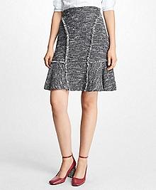 Tweed Fringe A-Line Skirt