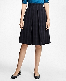 Plaid Corded A-Line Skirt
