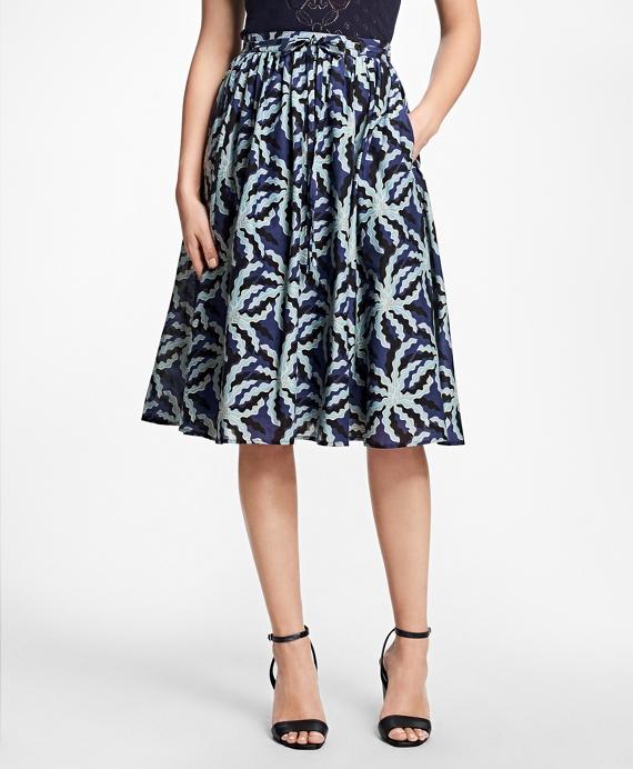 Palm Tree Print Cotton-Silk Skirt Blue