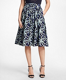 Palm Tree Print Cotton-Silk Skirt