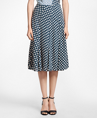 Flared Ikat-Print Skirt