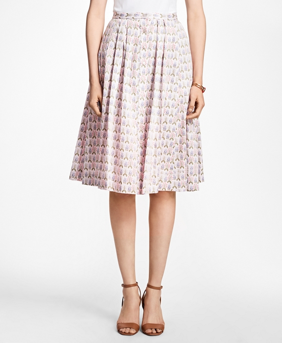 Floral Cotton-Sateen Pleated Skirt Multi