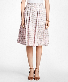 Floral Cotton-Sateen Pleated Skirt