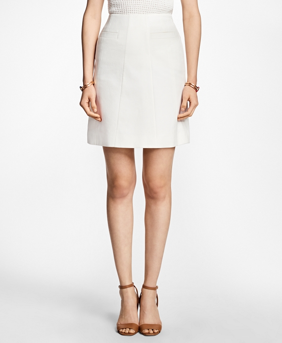 Stretch-Cotton A-Line Skirt Ivory
