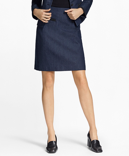 Soutache-Trimmed Denim Pencil Skirt