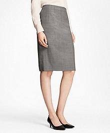Sharkskin Stretch Wool Pencil Skirt